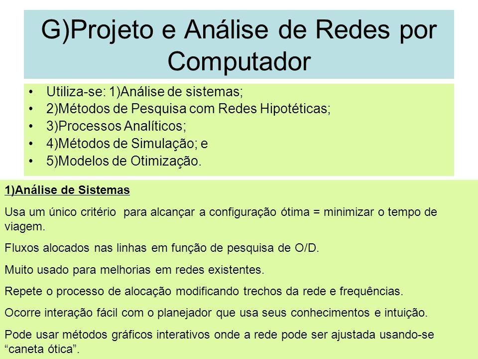35 G)Projeto e Análise de Redes por Computador Utiliza-se: 1)Análise de sistemas; 2)Métodos de Pesquisa com Redes Hipotéticas; 3)Processos Analíticos;
