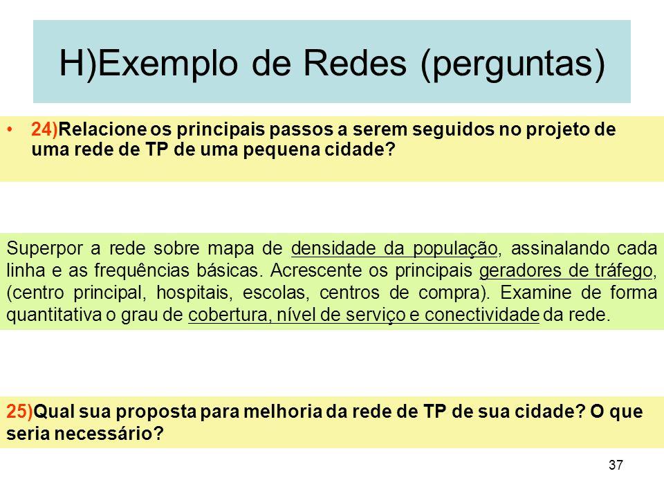 37 H)Exemplo de Redes (perguntas) 24)Relacione os principais passos a serem seguidos no projeto de uma rede de TP de uma pequena cidade? 25)Qual sua p