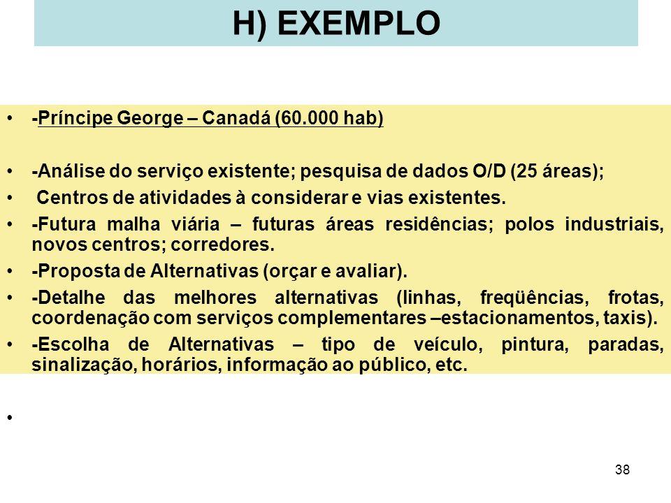 38 H) EXEMPLO -Príncipe George – Canadá (60.000 hab) -Análise do serviço existente; pesquisa de dados O/D (25 áreas); Centros de atividades à consider
