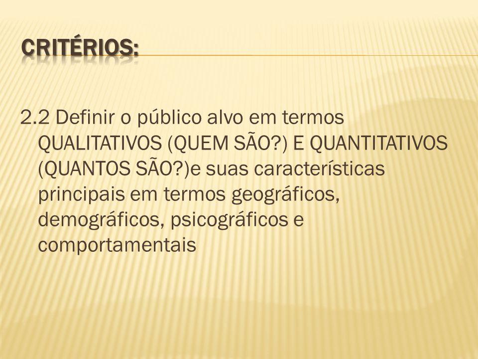 2.2 Definir o público alvo em termos QUALITATIVOS (QUEM SÃO?) E QUANTITATIVOS (QUANTOS SÃO?)e suas características principais em termos geográficos, d