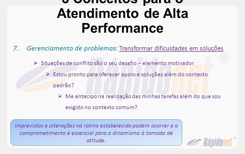 8 Conceitos para o Atendimento de Alta Performance 7.Gerenciamento de problemas : Transformar dificuldades em soluções Situações de conflito são o seu