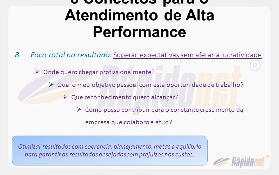 8 Conceitos para o Atendimento de Alta Performance 8.Foco total no resultado : Superar expectativas sem afetar a lucratividade Onde quero chegar profi