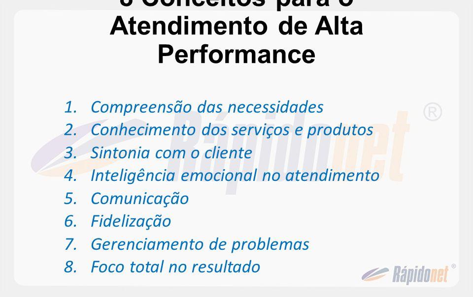 8 Conceitos para o Atendimento de Alta Performance 1.Compreensão das necessidades 2.Conhecimento dos serviços e produtos 3.Sintonia com o cliente 4.In