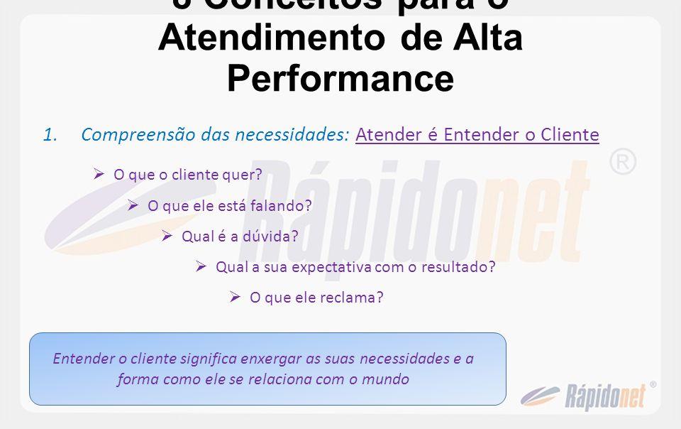 8 Conceitos para o Atendimento de Alta Performance 1.Compreensão das necessidades: Atender é Entender o Cliente O que o cliente quer? O que ele está f
