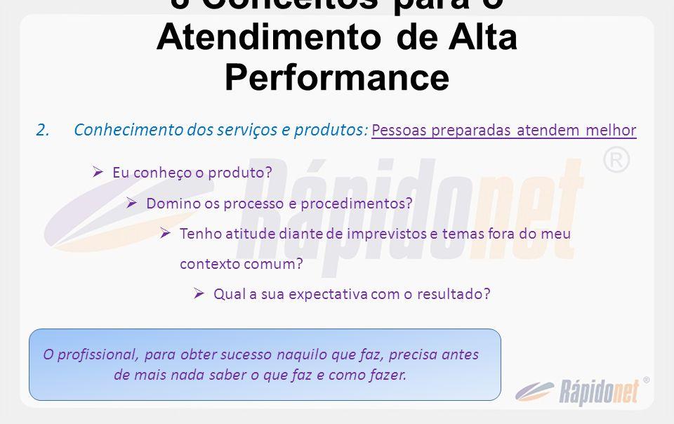 8 Conceitos para o Atendimento de Alta Performance 2.Conhecimento dos serviços e produtos : Pessoas preparadas atendem melhor Eu conheço o produto? Do