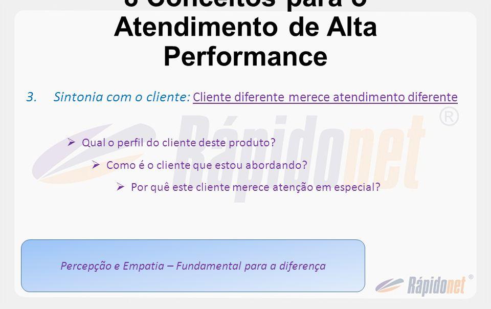 8 Conceitos para o Atendimento de Alta Performance 3.Sintonia com o cliente : Cliente diferente merece atendimento diferente Qual o perfil do cliente