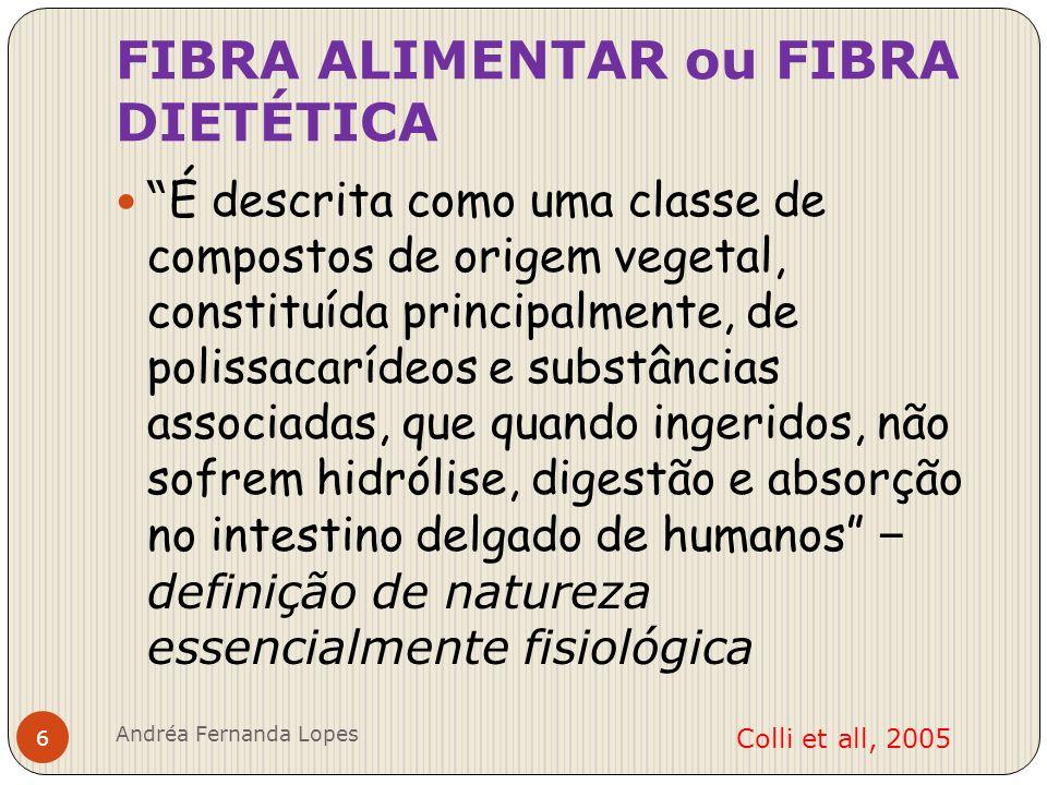 Propriedades Físico-Químicas das Fibras Dietéticas Viscosidade Capacidade de sequestrar água Absorção de Nutrientes Ligação com sais biliares Degradação microbiológica das fibras.