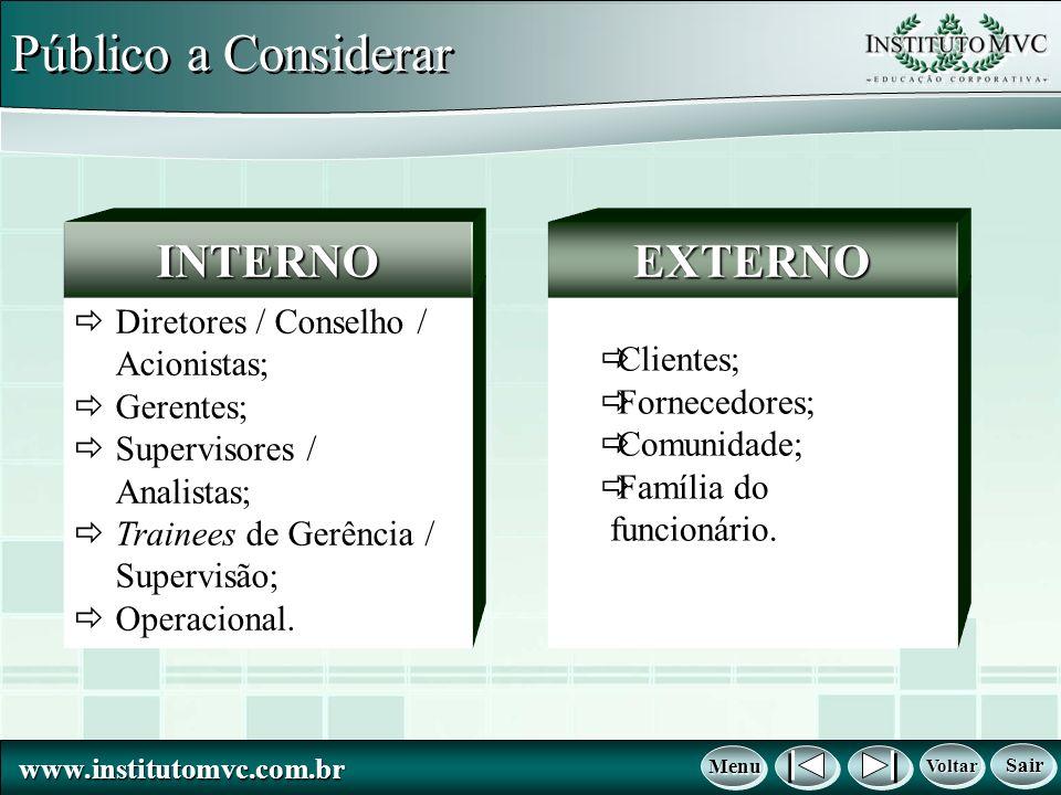 www.institutomvc.com.br www.institutomvc.com.br Voltar Voltar Voltar Voltar Menu Menu Menu Menu Sair Sair Sair Sair Público a Considerar Diretores / C