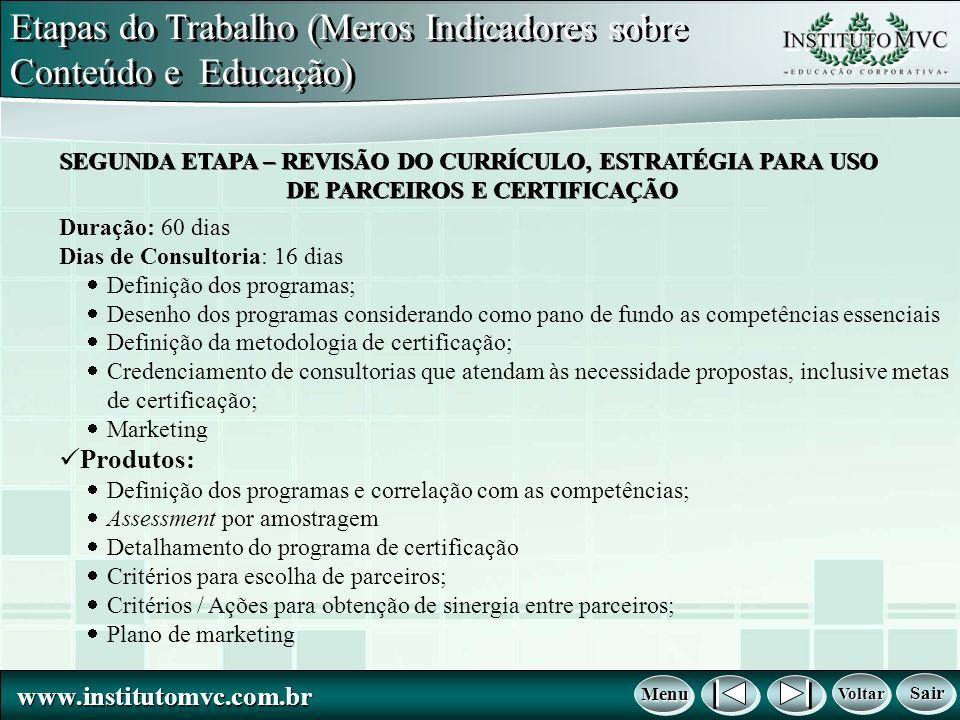 www.institutomvc.com.br www.institutomvc.com.br Voltar Voltar Voltar Voltar Menu Menu Menu Menu Sair Sair Sair Sair Duração: 60 dias Dias de Consultor