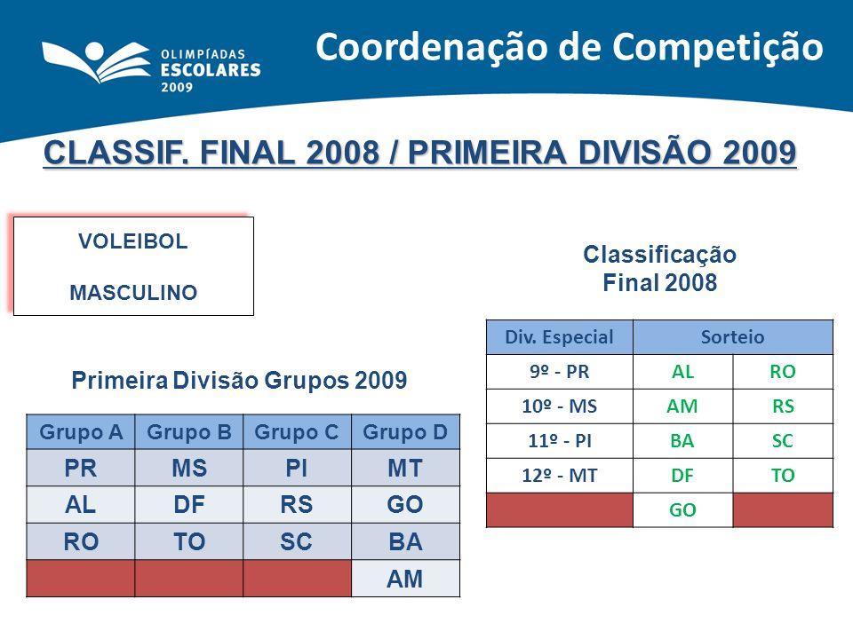 CLASSIF. FINAL 2008 / PRIMEIRA DIVISÃO 2009 VOLEIBOL MASCULINO VOLEIBOL MASCULINO Classificação Final 2008 Primeira Divisão Grupos 2009 Div. EspecialS