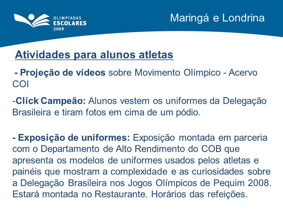 Atividades para alunos atletas - Projeção de vídeos sobre Movimento Olímpico - Acervo COI -Click Campeão: Alunos vestem os uniformes da Delegação Bras