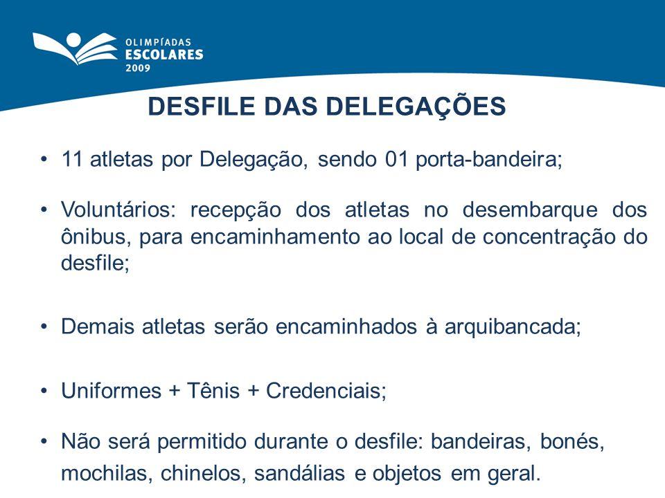 DESFILE DAS DELEGAÇÕES 11 atletas por Delegação, sendo 01 porta-bandeira; Voluntários: recepção dos atletas no desembarque dos ônibus, para encaminham