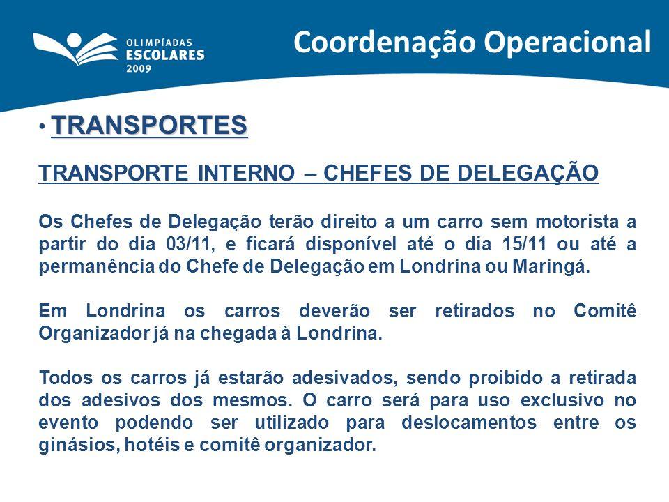 TRANSPORTES TRANSPORTE INTERNO – CHEFES DE DELEGAÇÃO Os Chefes de Delegação terão direito a um carro sem motorista a partir do dia 03/11, e ficará dis