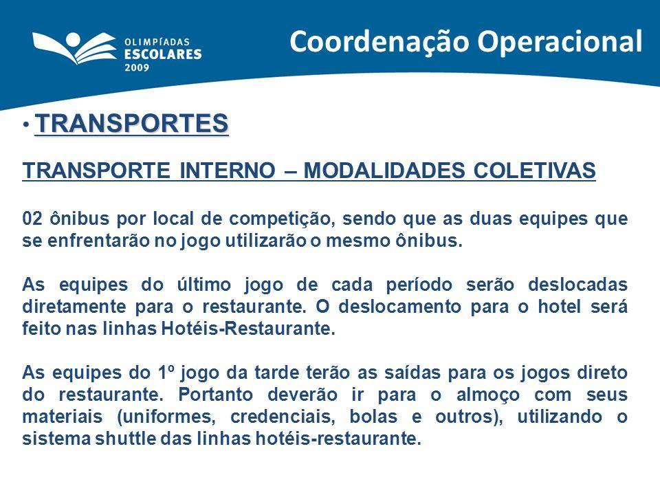 TRANSPORTES TRANSPORTE INTERNO – MODALIDADES COLETIVAS 02 ônibus por local de competição, sendo que as duas equipes que se enfrentarão no jogo utiliza