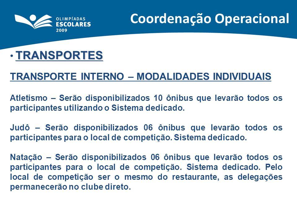 TRANSPORTES TRANSPORTE INTERNO – MODALIDADES INDIVIDUAIS Atletismo – Serão disponibilizados 10 ônibus que levarão todos os participantes utilizando o