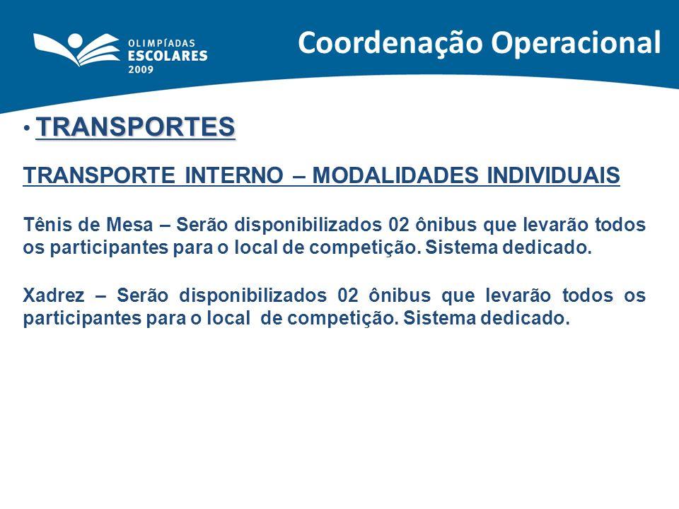 TRANSPORTES TRANSPORTE INTERNO – MODALIDADES INDIVIDUAIS Tênis de Mesa – Serão disponibilizados 02 ônibus que levarão todos os participantes para o lo