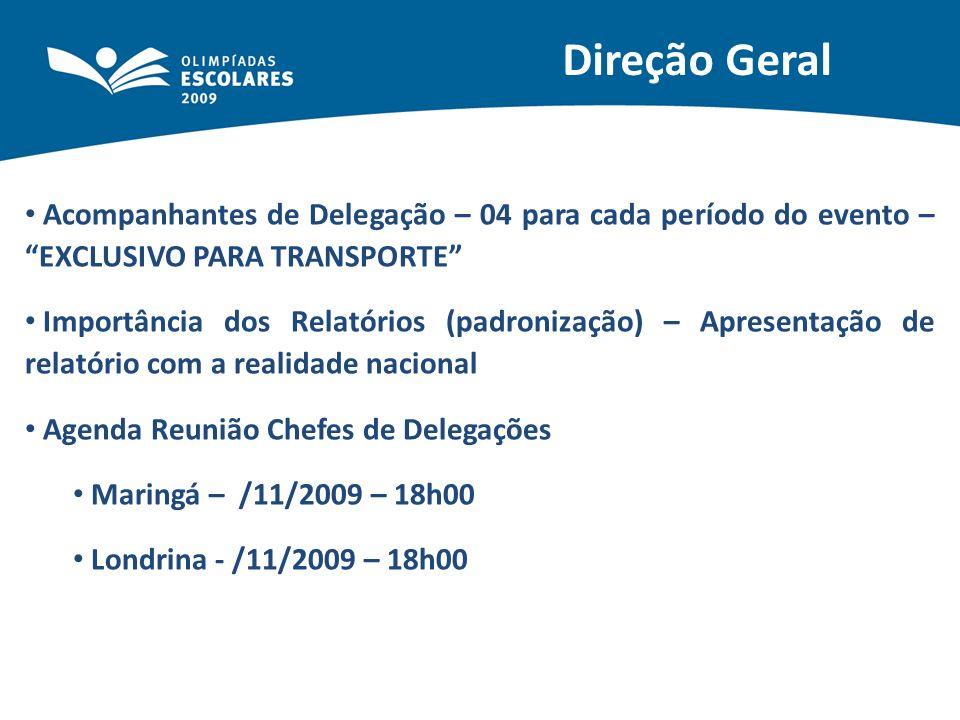 Direção Geral Acompanhantes de Delegação – 04 para cada período do evento – EXCLUSIVO PARA TRANSPORTE Importância dos Relatórios (padronização) – Apre