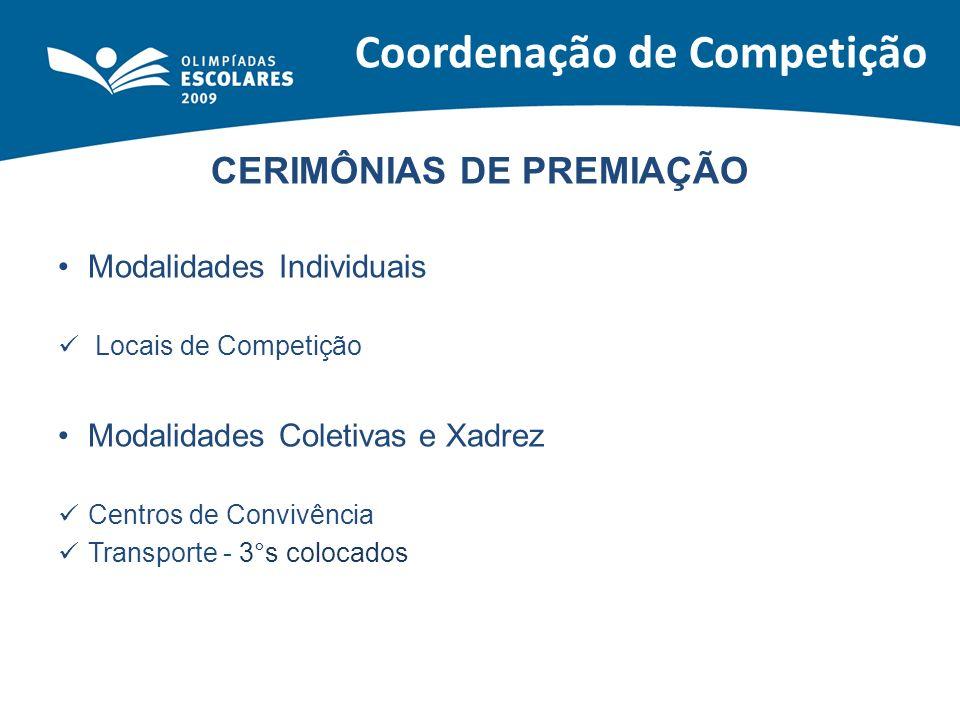 CERIMÔNIAS DE PREMIAÇÃO Modalidades Individuais Locais de Competição Modalidades Coletivas e Xadrez Centros de Convivência Transporte - 3°s colocados