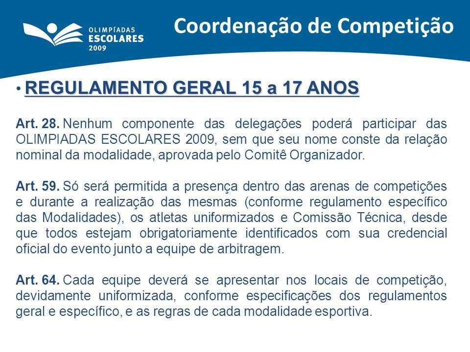 REGULAMENTO GERAL 15 a 17 ANOS Art. 28.Nenhum componente das delegações poderá participar das OLIMPIADAS ESCOLARES 2009, sem que seu nome conste da re