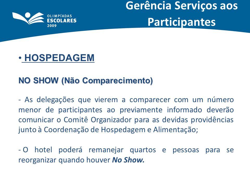HOSPEDAGEM NO SHOW (Não Comparecimento) - As delegações que vierem a comparecer com um número menor de participantes ao previamente informado deverão