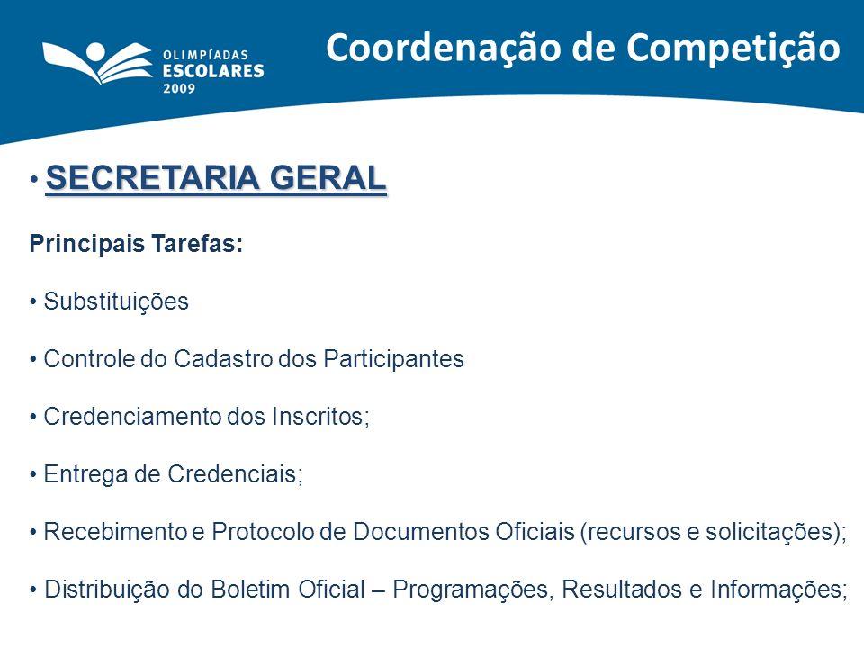 SECRETARIA GERAL Principais Tarefas: Substituições Controle do Cadastro dos Participantes Credenciamento dos Inscritos; Entrega de Credenciais; Recebi