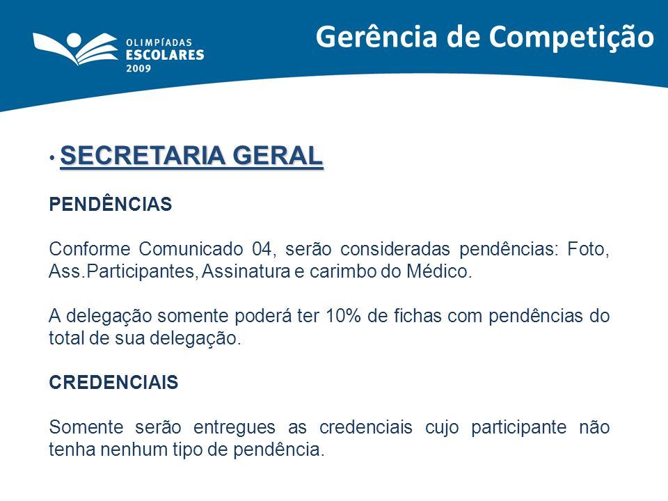 Gerência de Competição SECRETARIA GERAL PENDÊNCIAS Conforme Comunicado 04, serão consideradas pendências: Foto, Ass.Participantes, Assinatura e carimb
