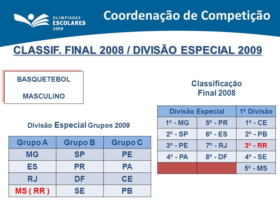CLASSIF. FINAL 2008 / DIVISÃO ESPECIAL 2009 BASQUETEBOL MASCULINO BASQUETEBOL MASCULINO Classificação Final 2008 Divisão Especial1ª Divisão 1º - MG5º