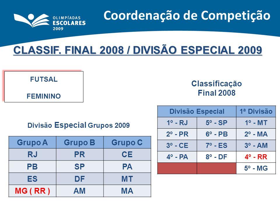 CLASSIF. FINAL 2008 / DIVISÃO ESPECIAL 2009 FUTSAL FEMININO FUTSAL FEMININO Classificação Final 2008 Divisão Especial1ª Divisão 1º - RJ5º - SP1º - MT