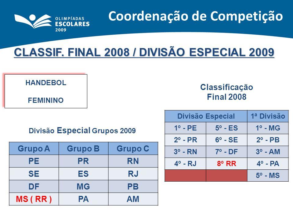 CLASSIF. FINAL 2008 / DIVISÃO ESPECIAL 2009 HANDEBOL FEMININO HANDEBOL FEMININO Classificação Final 2008 Divisão Especial1ª Divisão 1º - PE5º - ES1º -
