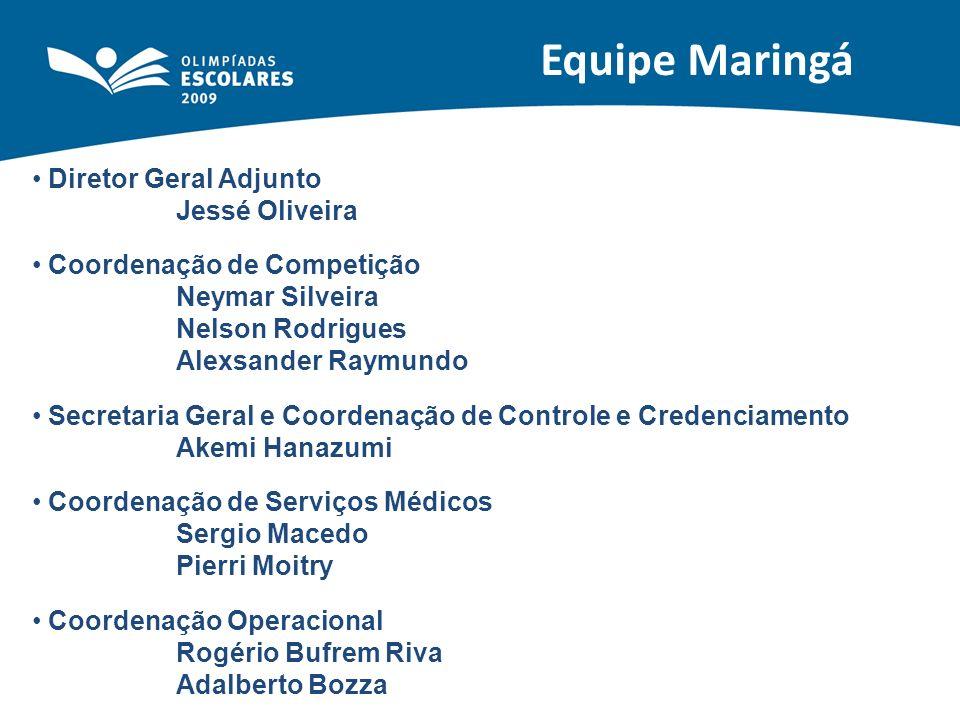 Equipe Maringá Diretor Geral Adjunto Jessé Oliveira Coordenação de Competição Neymar Silveira Nelson Rodrigues Alexsander Raymundo Secretaria Geral e
