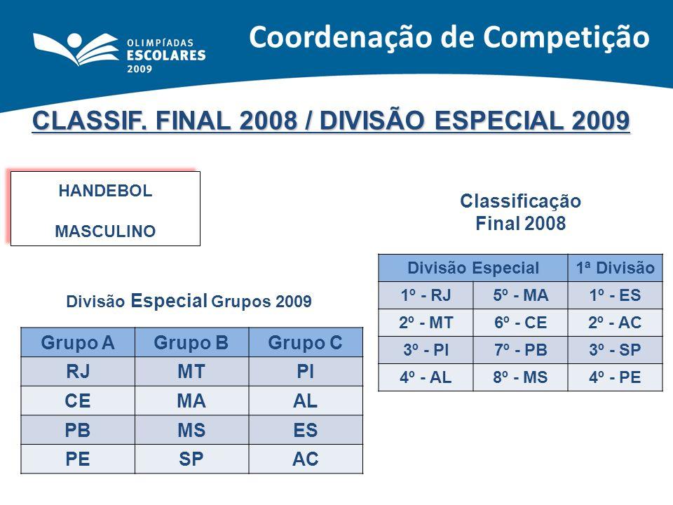 CLASSIF. FINAL 2008 / DIVISÃO ESPECIAL 2009 HANDEBOL MASCULINO HANDEBOL MASCULINO Classificação Final 2008 Divisão Especial1ª Divisão 1º - RJ5º - MA1º