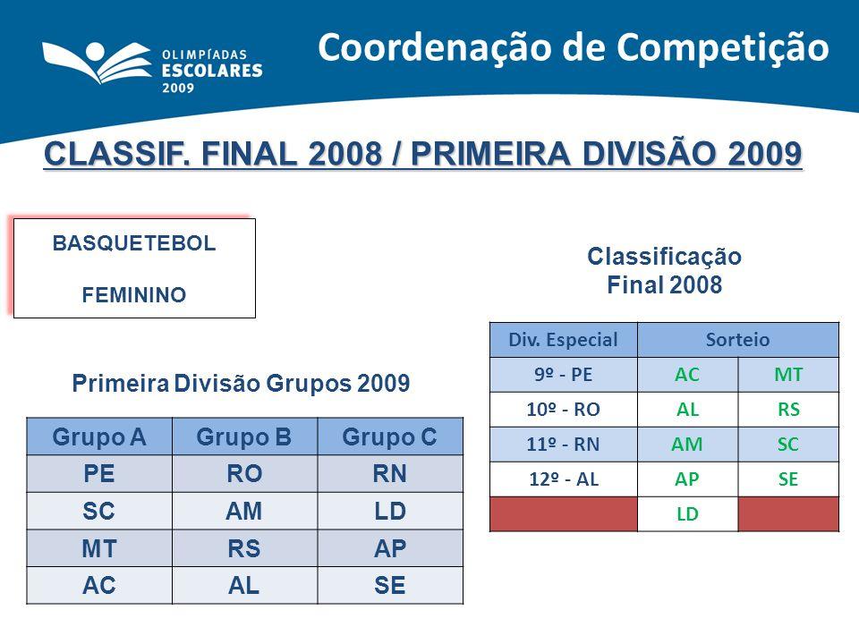 CLASSIF. FINAL 2008 / PRIMEIRA DIVISÃO 2009 BASQUETEBOL FEMININO BASQUETEBOL FEMININO Classificação Final 2008 Primeira Divisão Grupos 2009 Grupo AGru