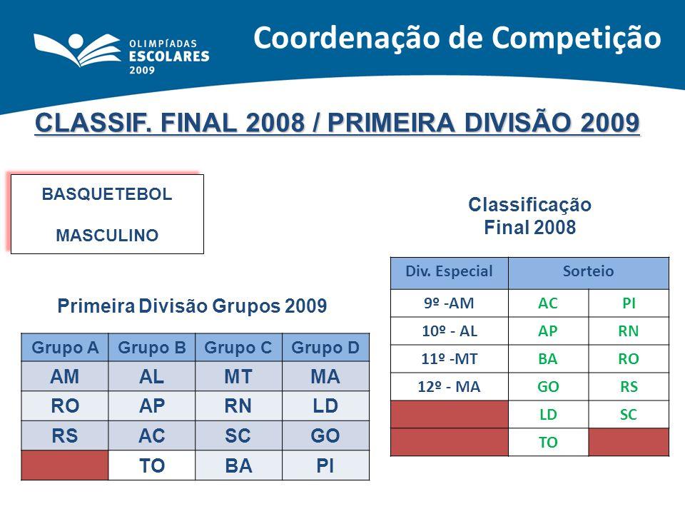 CLASSIF. FINAL 2008 / PRIMEIRA DIVISÃO 2009 BASQUETEBOL MASCULINO BASQUETEBOL MASCULINO Classificação Final 2008 Primeira Divisão Grupos 2009 Grupo AG