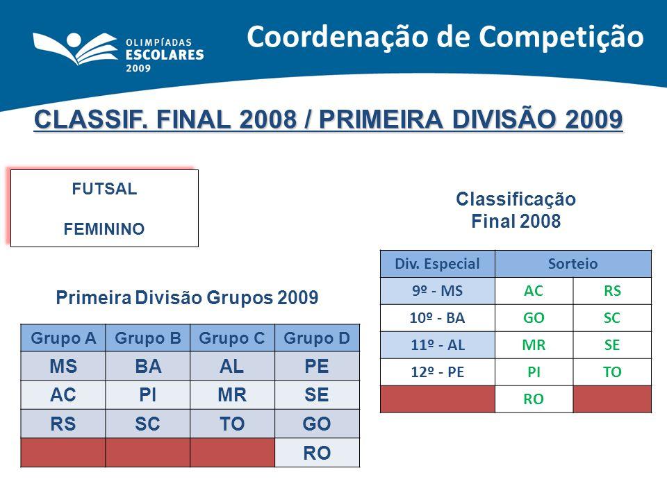 CLASSIF. FINAL 2008 / PRIMEIRA DIVISÃO 2009 FUTSAL FEMININO FUTSAL FEMININO Classificação Final 2008 Primeira Divisão Grupos 2009 Div. EspecialSorteio