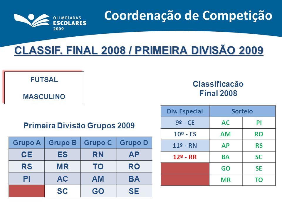 CLASSIF. FINAL 2008 / PRIMEIRA DIVISÃO 2009 FUTSAL MASCULINO FUTSAL MASCULINO Classificação Final 2008 Primeira Divisão Grupos 2009 Div. EspecialSorte