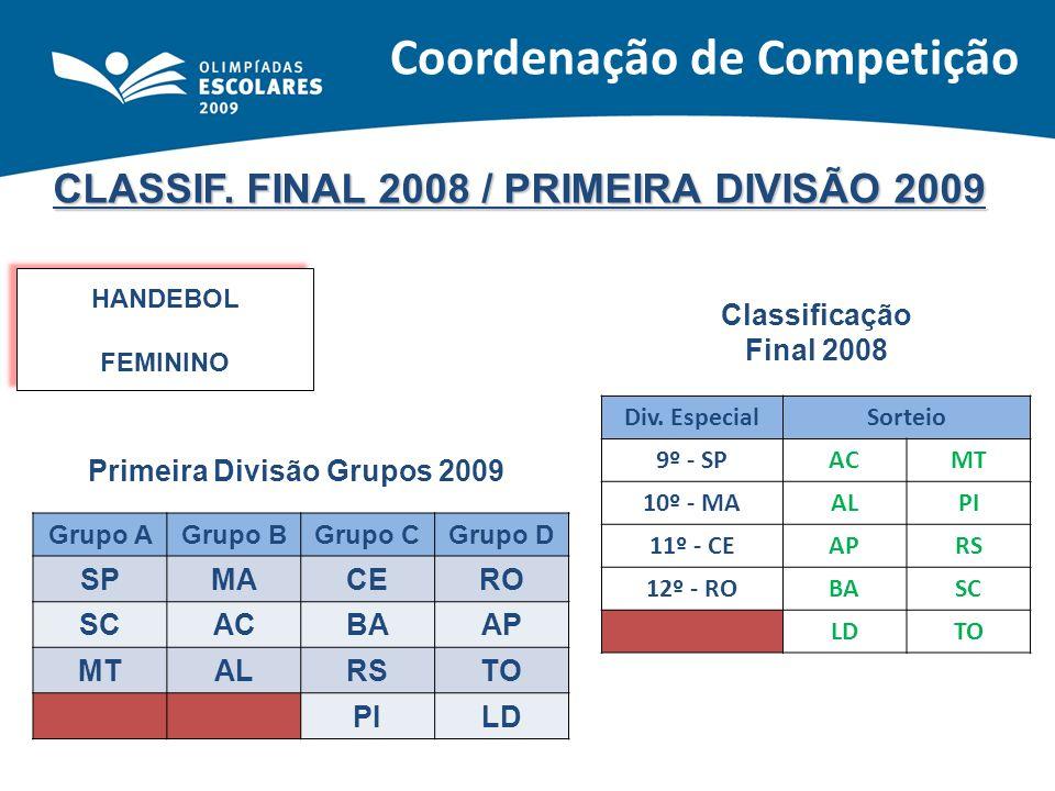 CLASSIF. FINAL 2008 / PRIMEIRA DIVISÃO 2009 HANDEBOL FEMININO HANDEBOL FEMININO Classificação Final 2008 Primeira Divisão Grupos 2009 Div. EspecialSor