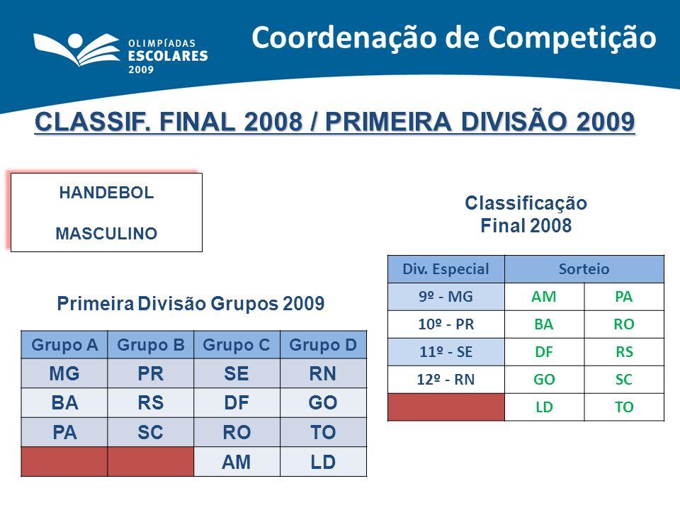 CLASSIF. FINAL 2008 / PRIMEIRA DIVISÃO 2009 HANDEBOL MASCULINO HANDEBOL MASCULINO Classificação Final 2008 Primeira Divisão Grupos 2009 Div. EspecialS