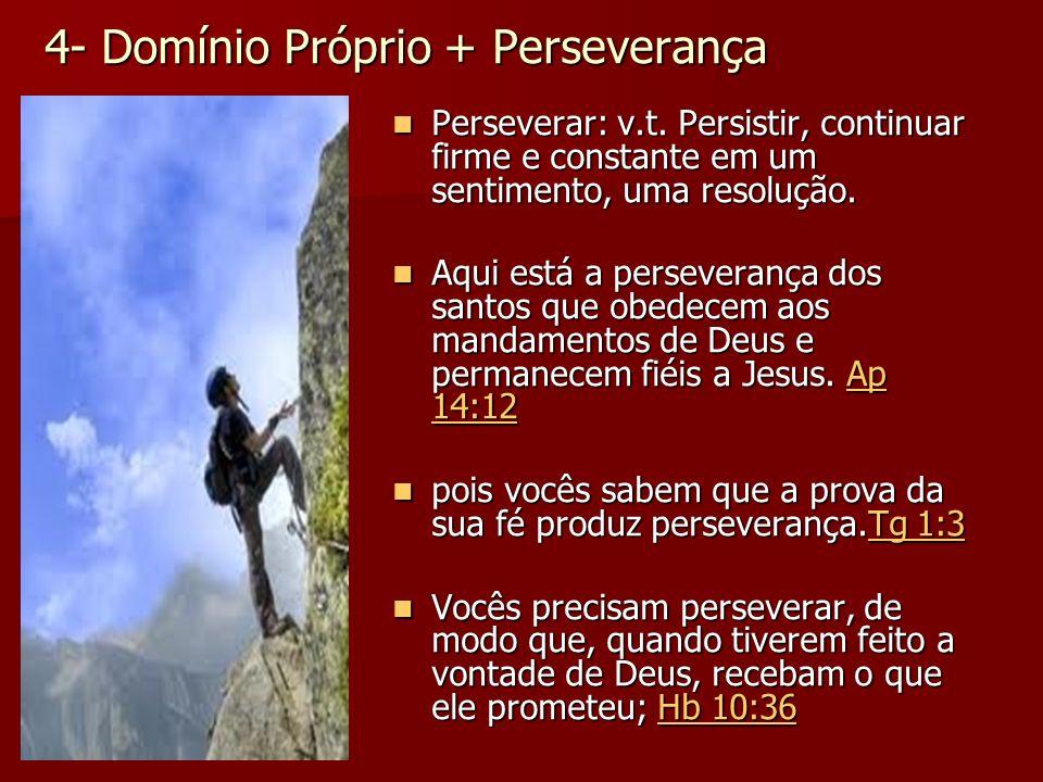 4- Domínio Próprio + Perseverança Perseverar: v.t. Persistir, continuar firme e constante em um sentimento, uma resolução. Perseverar: v.t. Persistir,