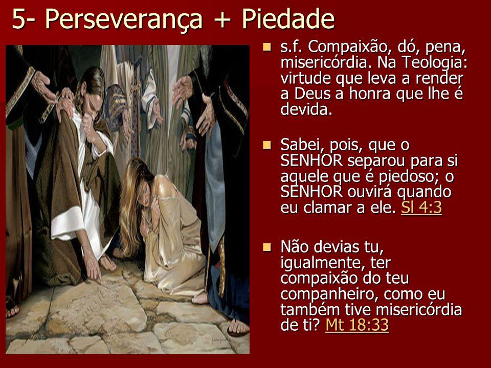 5- Perseverança + Piedade s.f. Compaixão, dó, pena, misericórdia. Na Teologia: virtude que leva a render a Deus a honra que lhe é devida. s.f. Compaix