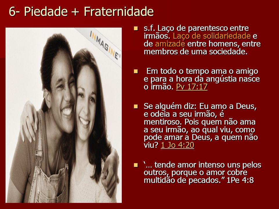 6- Piedade + Fraternidade s.f. Laço de parentesco entre irmãos. Laço de solidariedade e de amizade entre homens, entre membros de uma sociedade. s.f.