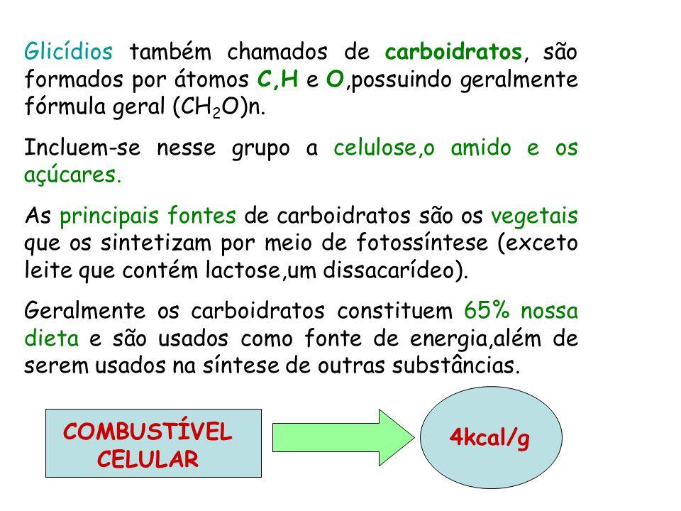 Glicídios também chamados de carboidratos, são formados por átomos C,H e O,possuindo geralmente fórmula geral (CH 2 O)n. Incluem-se nesse grupo a celu