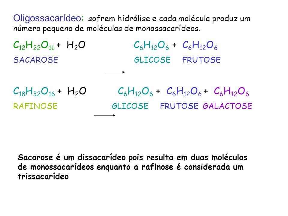 Oligossacarídeo : sofrem hidrólise e cada molécula produz um número pequeno de moléculas de monossacarídeos. C 12 H 22 O 11 + H 2 O C 6 H 12 O 6 + C 6
