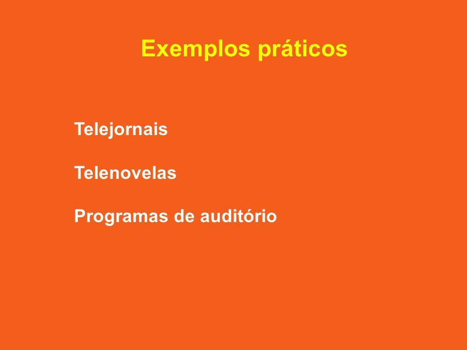 Exemplos práticos Telejornais Telenovelas Programas de auditório
