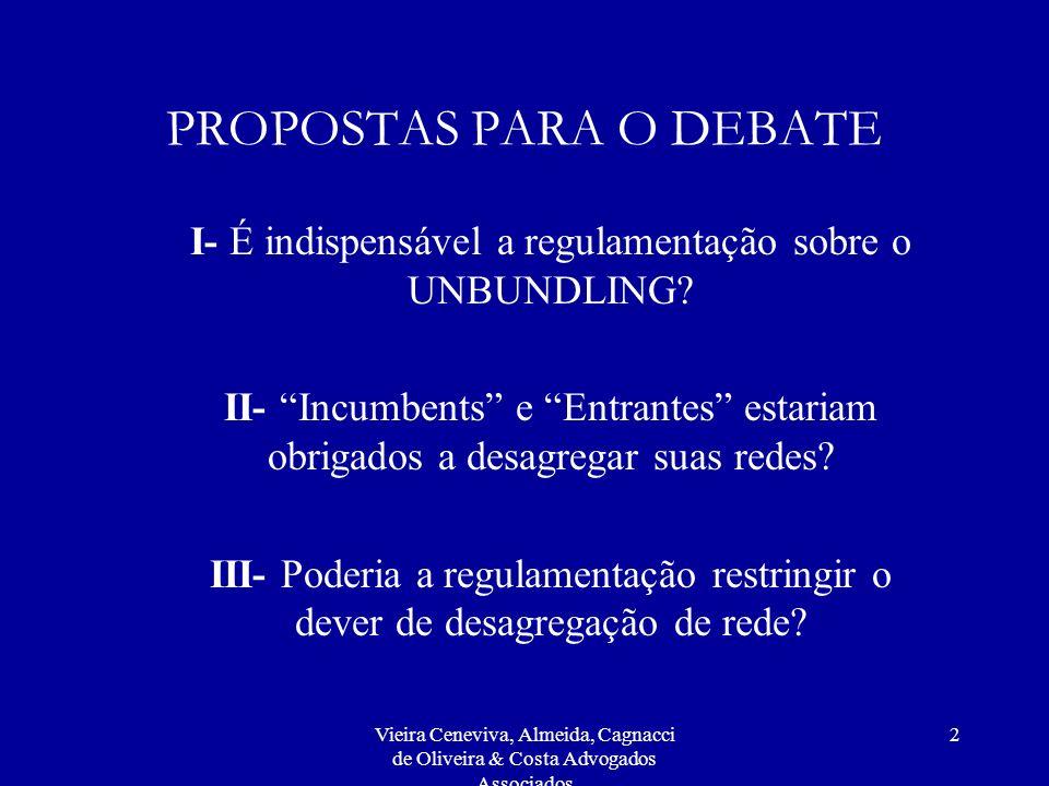 Vieira Ceneviva, Almeida, Cagnacci de Oliveira & Costa Advogados Associados 2 PROPOSTAS PARA O DEBATE I- É indispensável a regulamentação sobre o UNBUNDLING.