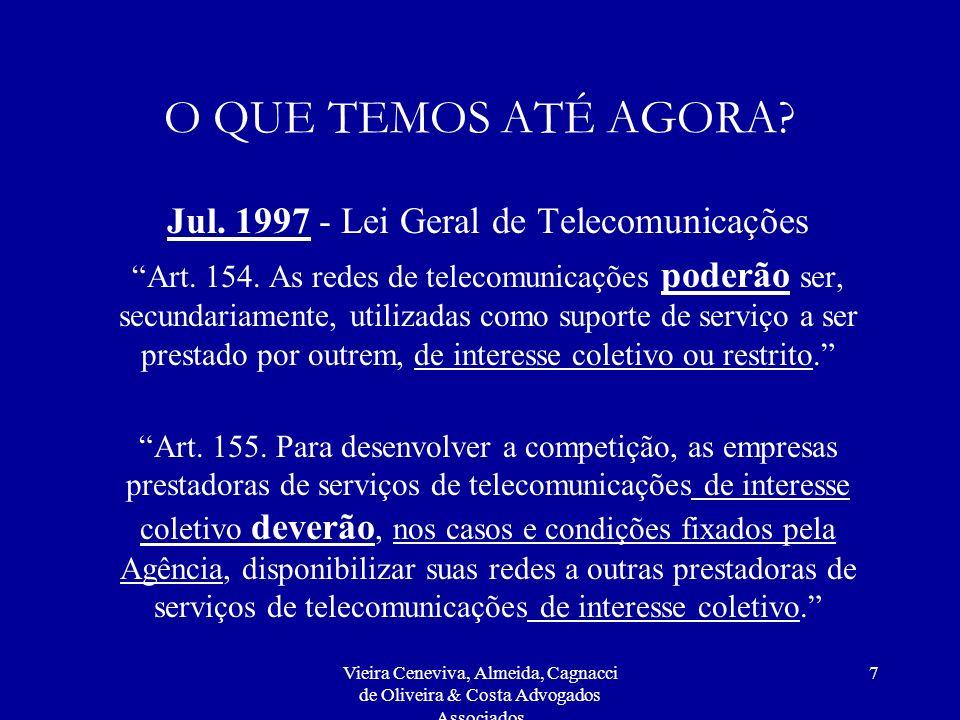 Vieira Ceneviva, Almeida, Cagnacci de Oliveira & Costa Advogados Associados 7 O QUE TEMOS ATÉ AGORA? Jul. 1997 - Lei Geral de Telecomunicações Art. 15