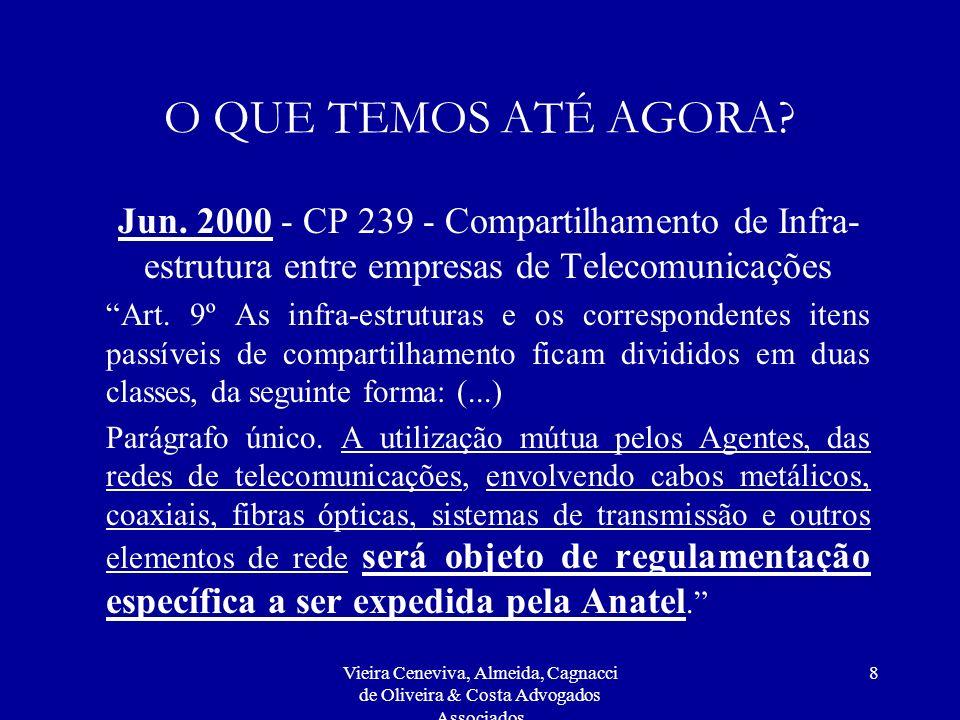 Vieira Ceneviva, Almeida, Cagnacci de Oliveira & Costa Advogados Associados 8 O QUE TEMOS ATÉ AGORA? Jun. 2000 - CP 239 - Compartilhamento de Infra- e