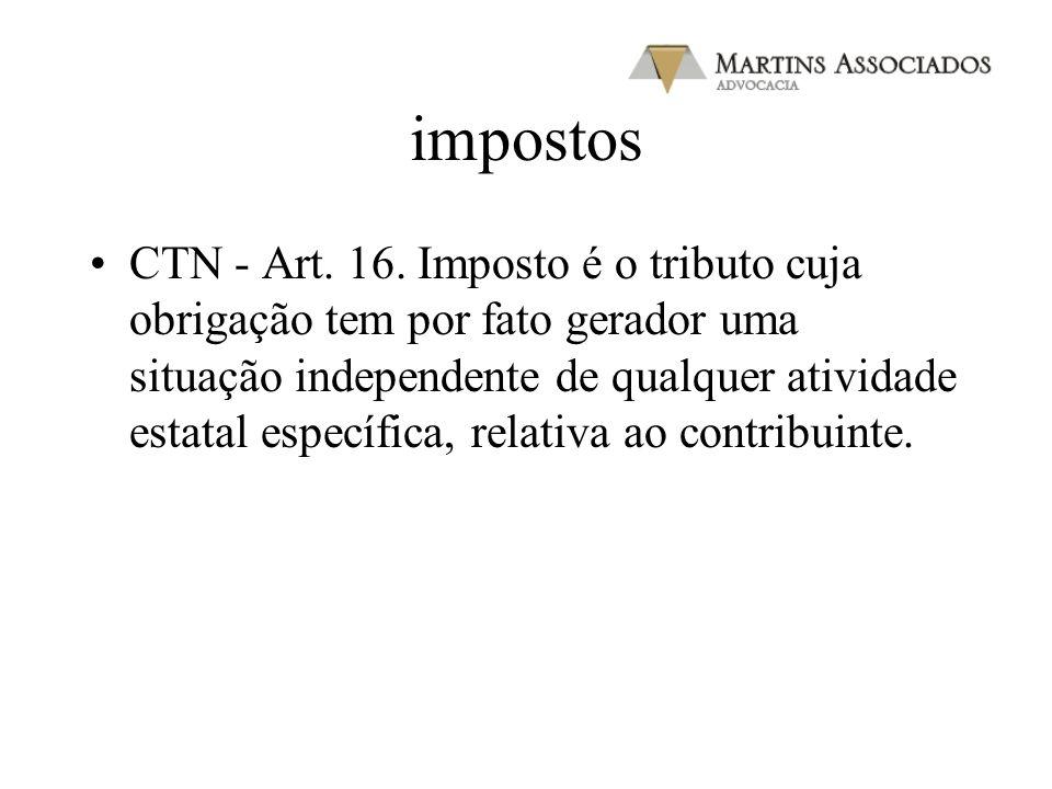 impostos CTN - Art. 16. Imposto é o tributo cuja obrigação tem por fato gerador uma situação independente de qualquer atividade estatal específica, re