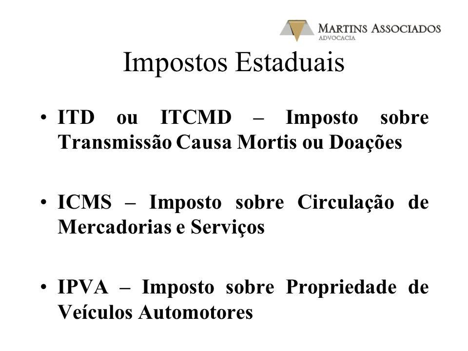 Impostos Estaduais ITD ou ITCMD – Imposto sobre Transmissão Causa Mortis ou Doações ICMS – Imposto sobre Circulação de Mercadorias e Serviços IPVA – I
