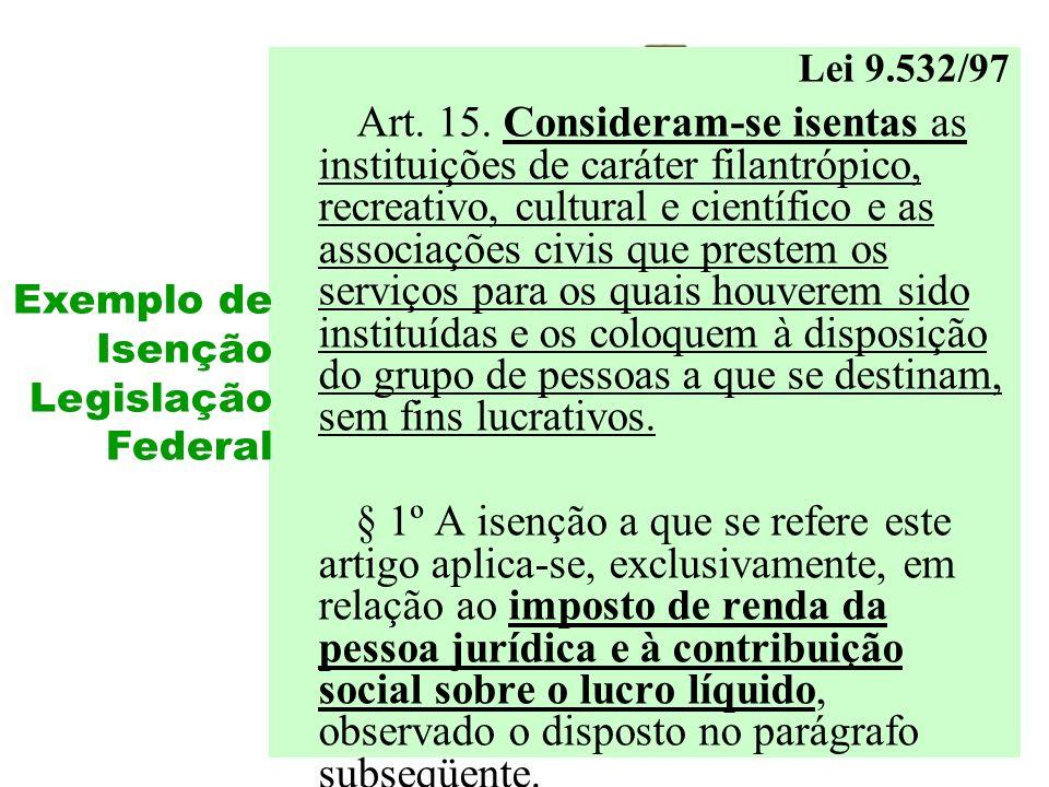 Lei 9.532/97 Art. 15. Consideram-se isentas as instituições de caráter filantrópico, recreativo, cultural e científico e as associações civis que pres