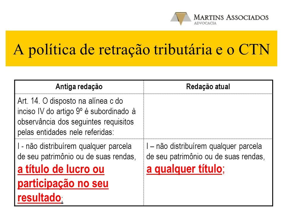 A política de retração tributária e o CTN Antiga redaçãoRedação atual Art. 14. O disposto na alínea c do inciso IV do artigo 9º é subordinado à observ